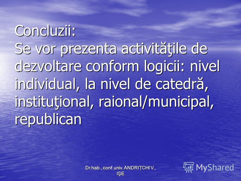 Dr.hab., conf.univ. ANDRIŢCHI V., IŞE Concluzii: Se vor prezenta activităţile de dezvoltare conform logicii: nivel individual, la nivel de catedră, instituţional, raional/municipal, republican