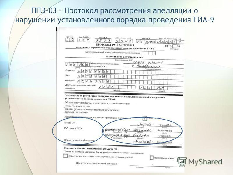 ППЭ-03 – Протокол рассмотрения апелляции о нарушении установленного порядка проведения ГИА-9