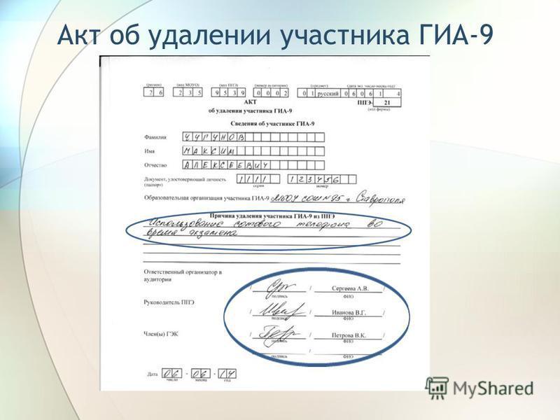 Акт об удалении участника ГИА-9