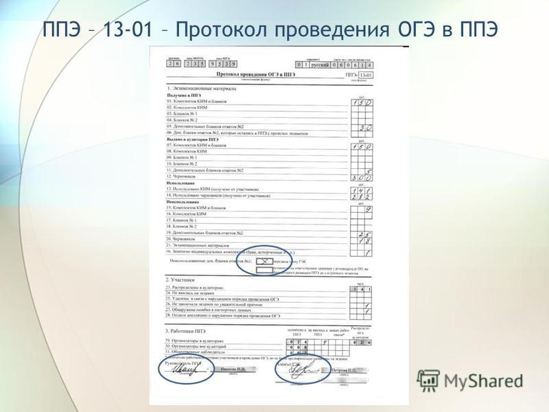 ППЭ – 13-01 – Протокол проведения ОГЭ в ППЭ