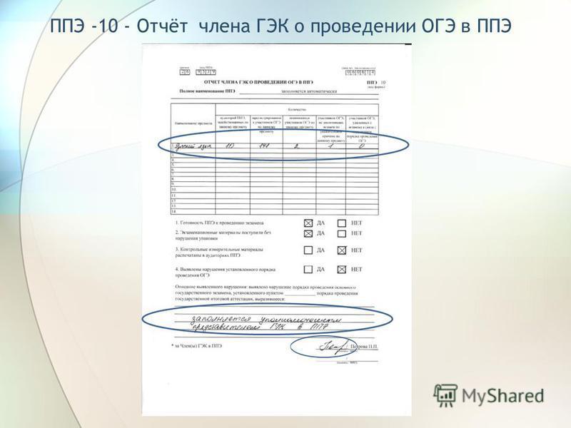 ППЭ -10 - Отчёт члена ГЭК о проведении ОГЭ в ППЭ