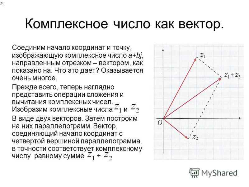 Комплексное число как вектор. Соединим начало координат и точку, изображающую комплексное число a+bj, направленным отрезком – вектором, как показано на. Что это дает? Оказывается очень многое. Прежде всего, теперь наглядно представить операции сложен