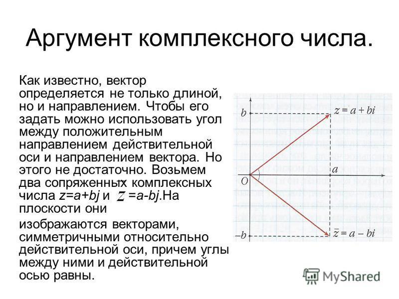 Аргумент комплексного числа. Как известно, вектор определяется не только длиной, но и направлением. Чтобы его задать можно использовать угол между положительным направлением действительной оси и направлением вектора. Но этого не достаточно. Возьмем д