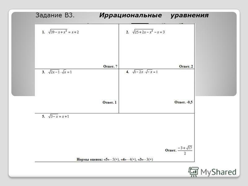 Задание В3. Иррациональные уравнения