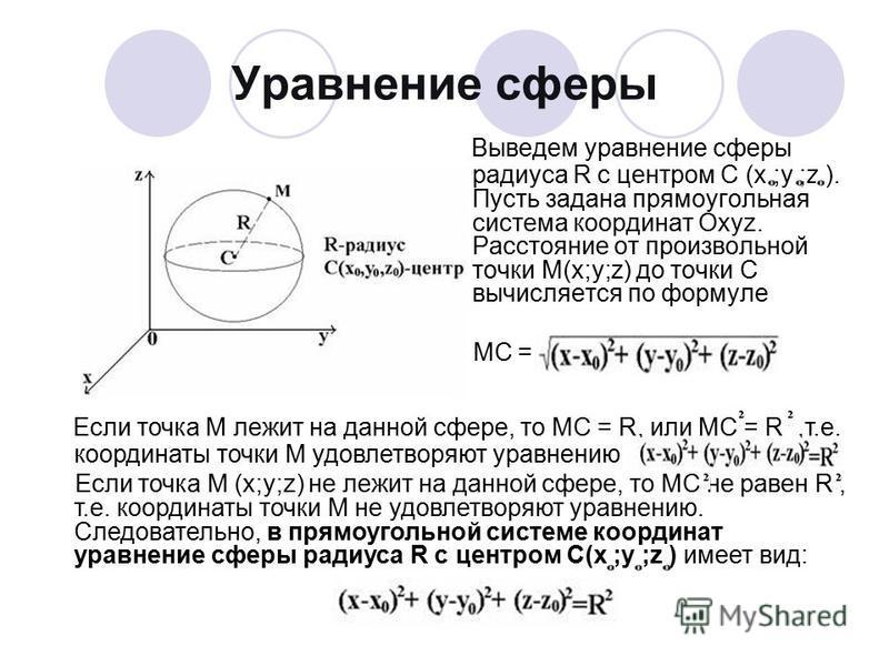 Уравнение сферы Выведем уравнение сферы радиуса R с центром C (х ;y ;z ). Пусть задана прямоугольная система координат Охyz. Расстояние от произвольной точки M(x;y;z) до точки С вычисляется по формуле МС = Если точка М лежит на данной сфере, то МС =