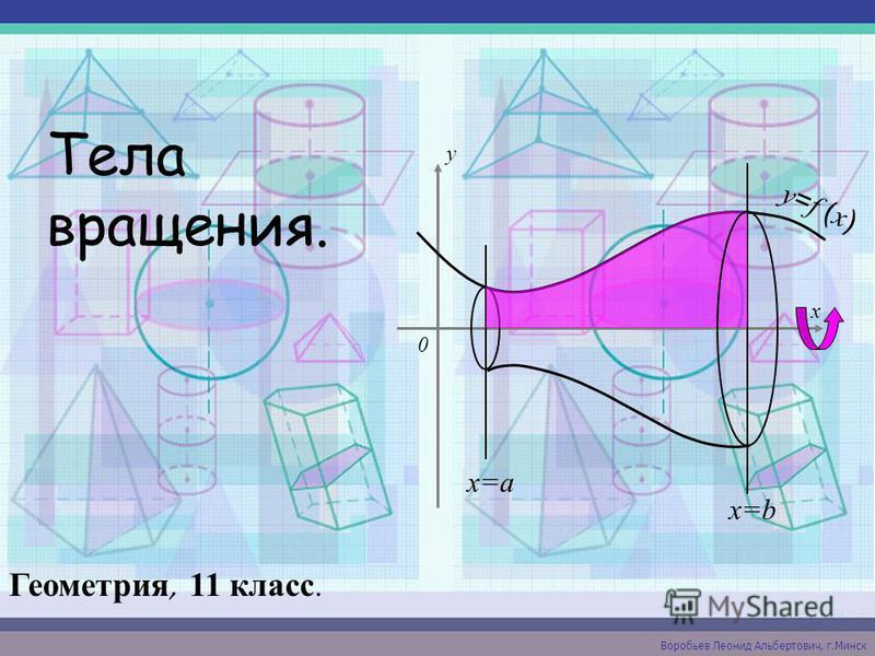 Тела вращения. Геометрия, 11 класс. Воробьев Леонид Альбертович, г.Минск x y 0 x=a x=b y = f ( x )