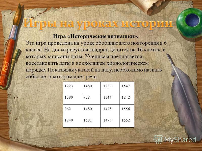 1223148012371547 138098811471242 962148014781556 1240158114971552 Игра «Исторические пятнашки». Эта игра проведена на уроке обобщающего повторения в 6 классе. На доске рисуется квадрат, делится на 16 клеток, в которых записаны даты. Ученикам предлага