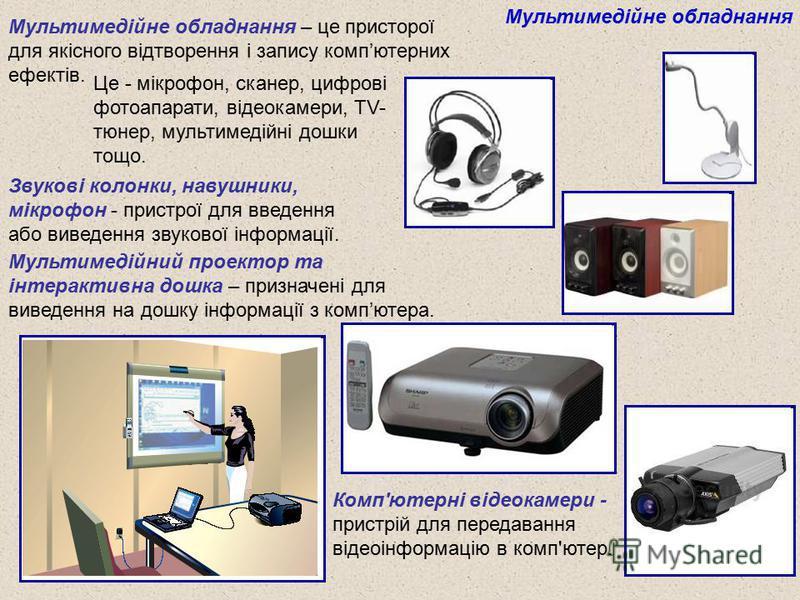 Мультимедійне обладнання Звукові колонки, навушники, мікрофон - пристрої для введення або виведення звукової інформації. Мультимедійний проектор та інтерактивна дошка – призначені для виведення на дошку інформації з компютера. Комп'ютерні відеокамери