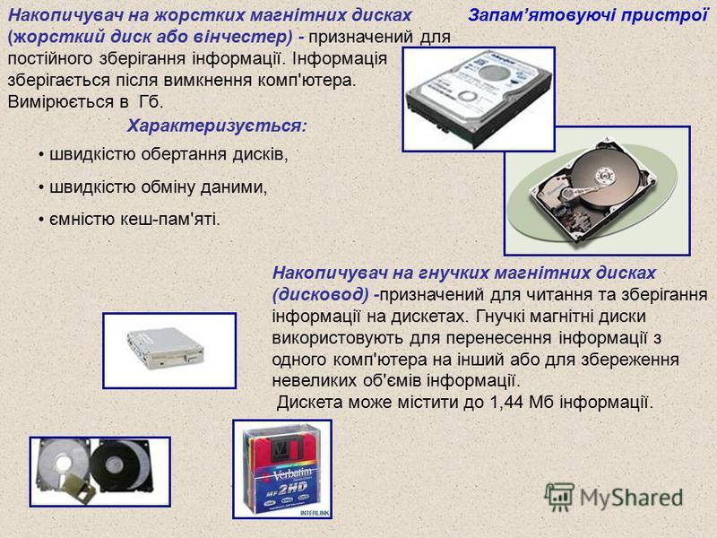 Накопичувач на жорстких магнітних дисках (жорсткий диск або вінчестер) - призначений для постійного зберігання інформації. Інформація зберігається після вимкнення комп'ютера. Вимірюється в Гб. Запамятовуючі пристрої Характеризується: швидкістю оберта
