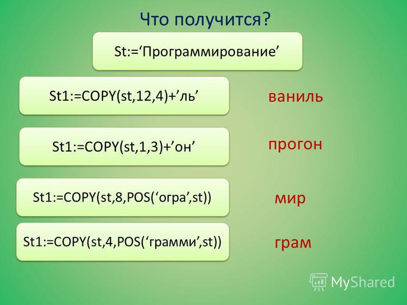 Что получится? St:=Прюграммырование St1:=COPY(st,1,8)+a St1:=COPY(st,4,5)+тика St1:=concat(st[10], st[9], st[8]); St1:=concat(st[4], st[3], st[2],a); прюграмма грамматика Рим гора