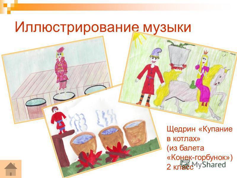 Иллюстрирование музыки Щедрин «Купание в котлах» (из балета «Конек-горбунок») 2 класс