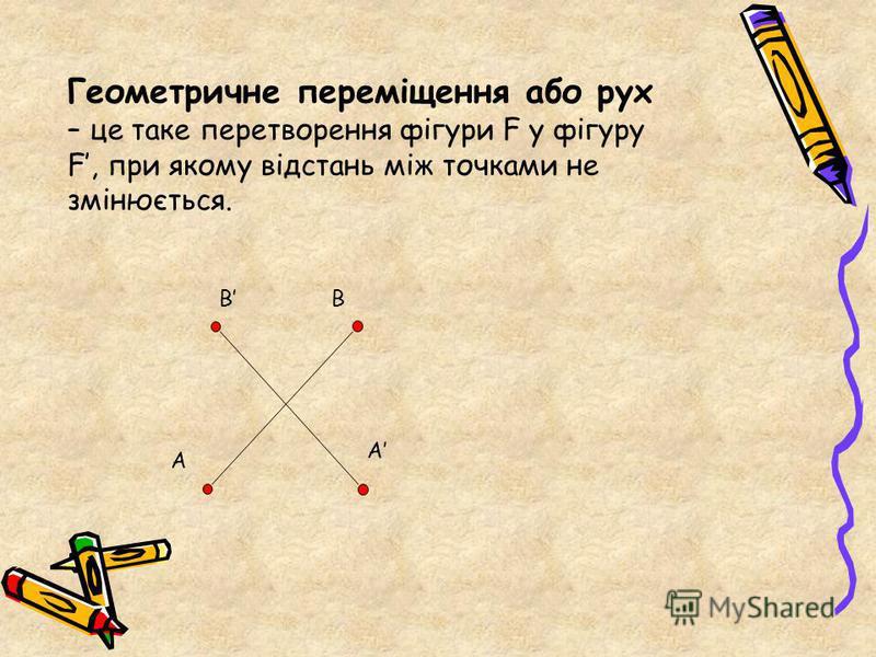 Геометричне переміщення або рух – це таке перетворення фігури F у фігуру F, при якому відстань між точками не змінюється. A B A B
