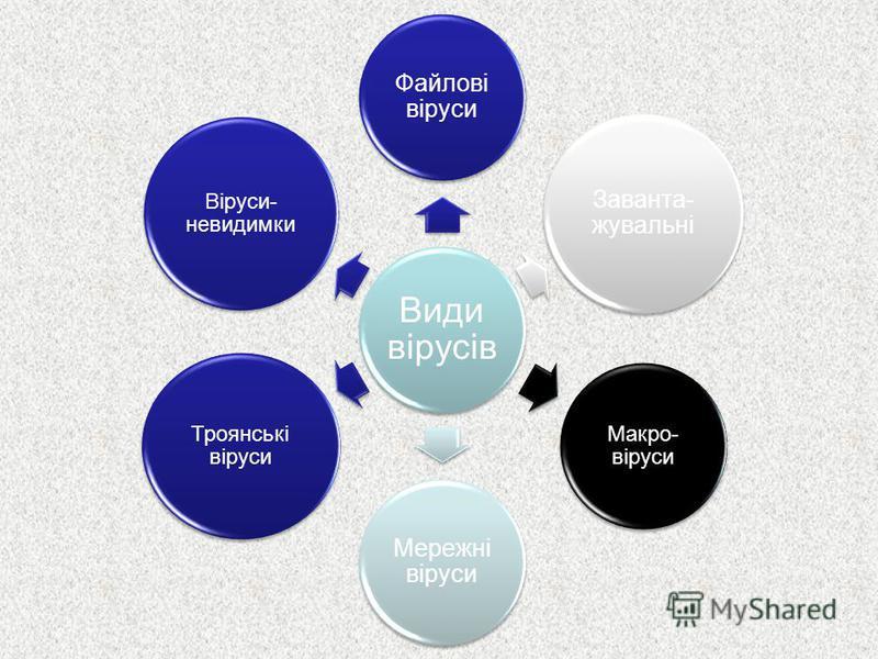 Види вірусів Файлові віруси Заванта- жувальні Макро- віруси Мережні віруси Троянські віруси Віруси- невидимки