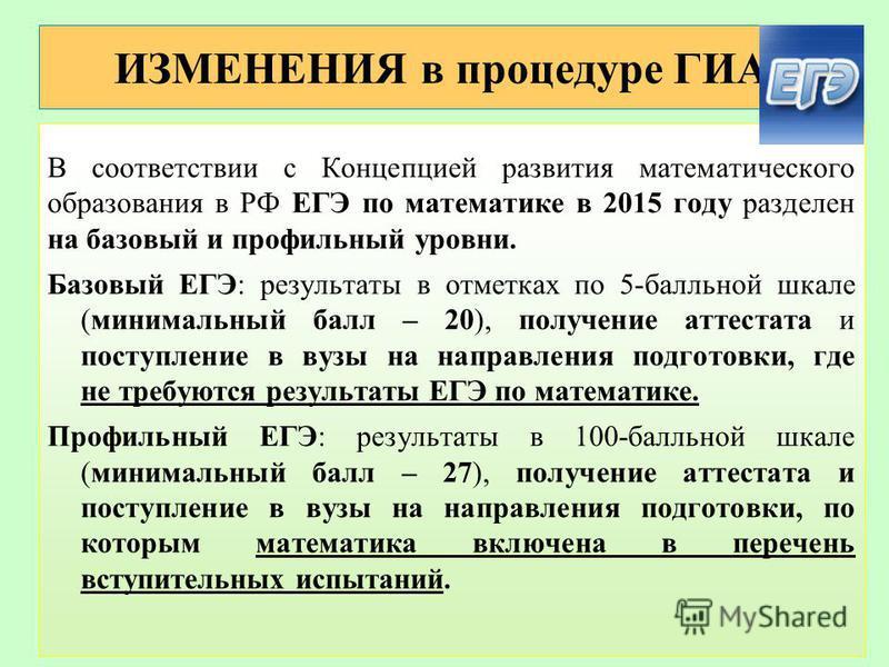 ИЗМЕНЕНИЯ в процедуре ГИА В соответствии с Концепцией развития математического образования в РФ ЕГЭ по математике в 2015 году разделен на базовый и профильный уровни. Базовый ЕГЭ: результаты в отметках по 5-балльной шкале (минимальный балл – 20), пол