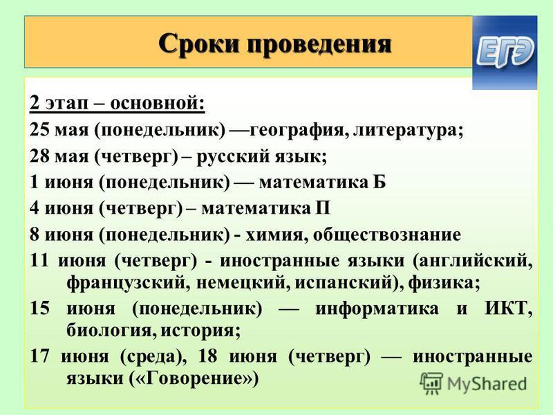 Сроки проведения 2 этап – основной: 25 мая (понедельник) география, литература; 28 мая (четверг) – русский язык; 1 июня (понедельник) математика Б 4 июня (четверг) – математика П 8 июня (понедельник) - химия, обществознание 11 июня (четверг) - иностр
