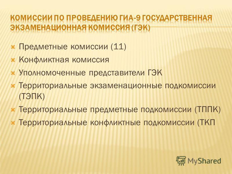 Предметные комиссии (11) Конфликтная комиссия Уполномоченные представители ГЭК Территориальные экзаменационные подкомиссии (ТЭПК) Территориальные предметные подкомиссии (ТППК) Территориальные конфликтные подкомиссии (ТКП