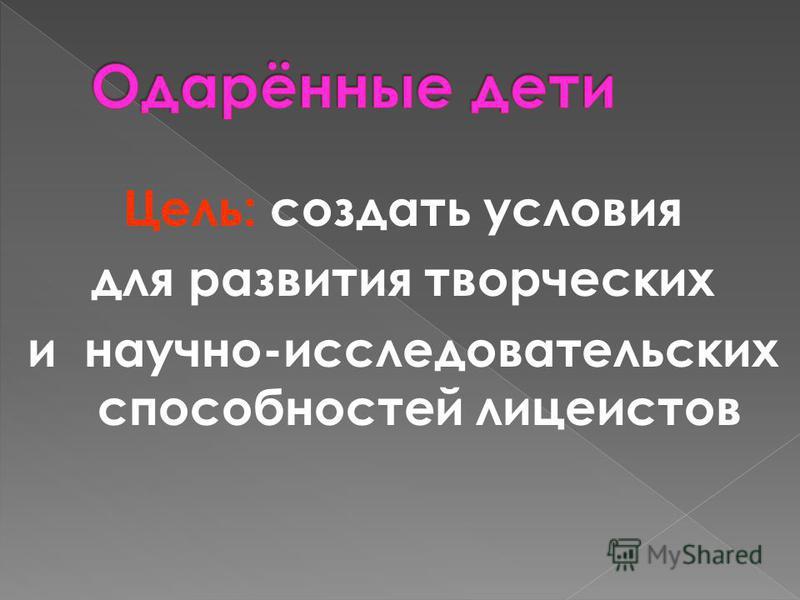 Цель: создать условия для развития творческих и научно-исследовательских способностей лицеистов