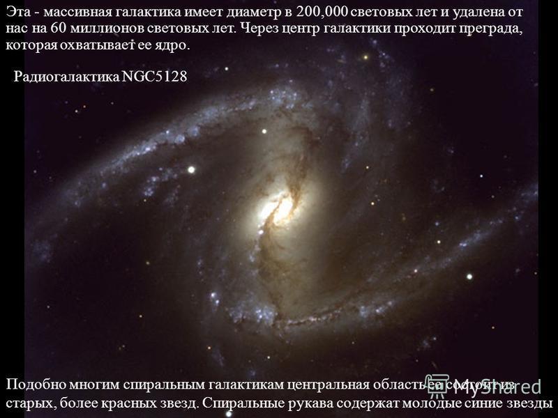 Подобно многим спиральным галактикам центральная область ее состоит из старых, более красных звезд. Спиральные рукава содержат молодые синие звезды Эта - массивная галактика имеет диаметр в 200,000 световых лет и удалена от нас на 60 миллионов светов