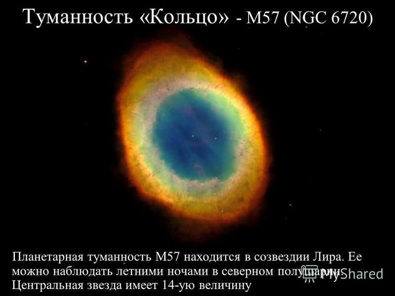 Туманность «Кольцо» - M57 (NGC 6720) Планетарная туманность M57 находится в созвездии Лира. Ее можно наблюдать летними ночами в северном полушарии. Центральная звезда имеет 14-ую величину