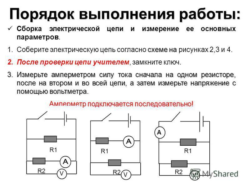 Порядок выполнения работы: Сборка электрической цепи и измерение ее основных параметров. схеме на 1. Соберите электрическую цепь согласно схеме на рисунках 2,3 и 4. 2. После проверки цепи учителем, замкните ключ. 3. Измерьте амперметром силу тока сна