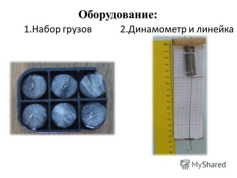 1. Набор грузов 2. Динамометр и линейка Оборудование: