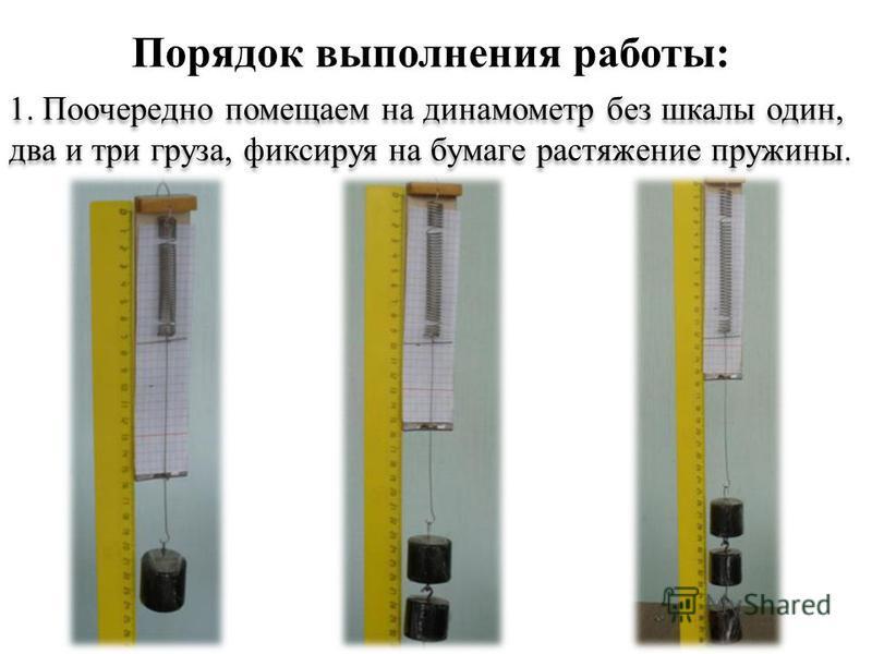 1. Поочередно помещаем на динамометр без шкалы один, два и три груза, фиксируя на бумаге растяжение пружины. Порядок выполнения работы: