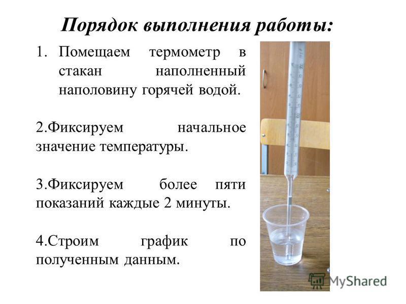 1. Помещаем термометр в стакан наполненный наполовину горячей водой. 2. Фиксируем начальное значение температуры. 3. Фиксируем более пяти показаний каждые 2 минуты. 4. Строим график по полученным данным. Порядок выполнения работы: