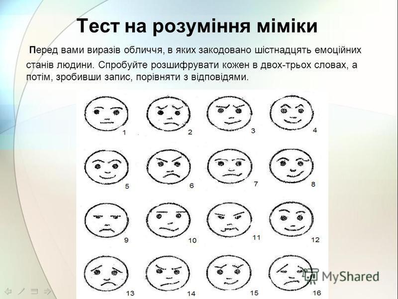 Тест на розуміння міміки Перед вами виразів обличчя, в яких закодовано шістнадцять емоційних станів людини. Спробуйте розшифрувати кожен в двох-трьох словах, а потім, зробивши запис, порівняти з відповідями.