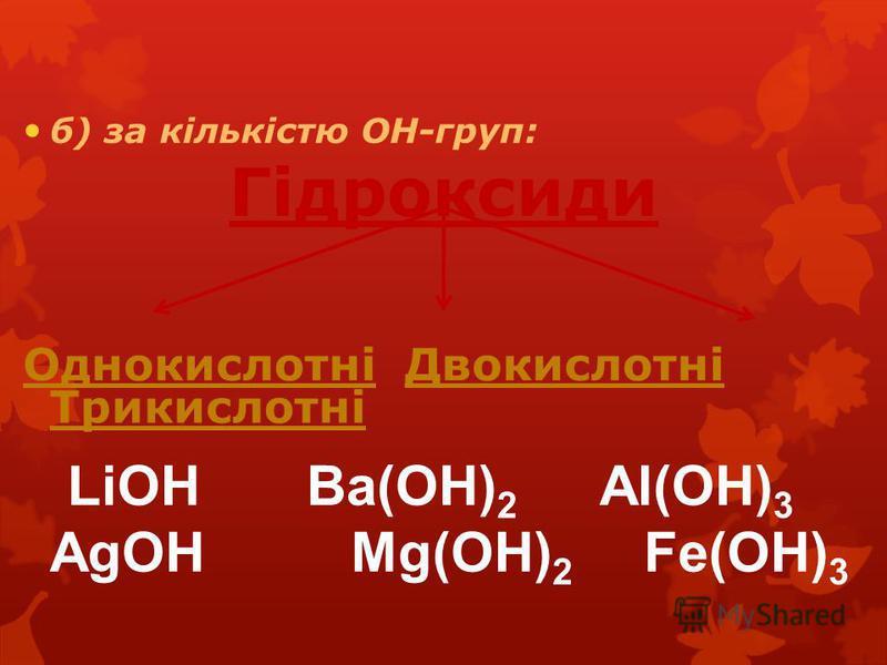 б) за кількістю ОН-груп: Гідроксиди Однокислотні Двокислотні Трикислотні LiOH Ba(OH) 2 Al(OH) 3 AgOH Mg(OH) 2 Fe(OH) 3