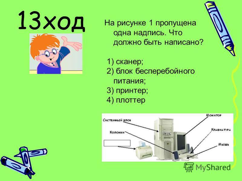 На рисунке 1 пропущена одна надпись. Что должно быть написано? 1) сканер; 2) блок бесперебойного питания; 3) принтер; 4) плоттер 13 ход