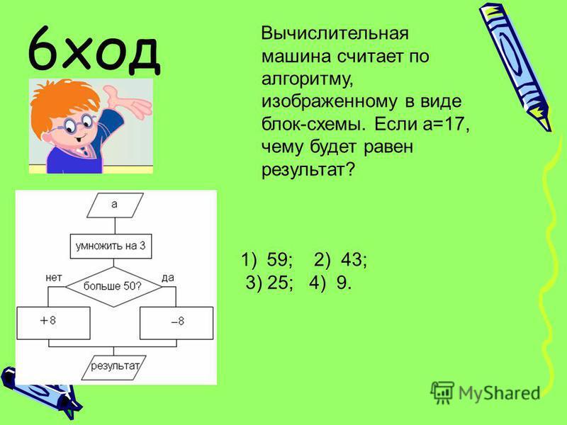 Вычислительная машина считает по алгоритму, изображенному в виде блок-схемы. Если a=17, чему будет равен результат? 1) 59; 2) 43; 3) 25; 4) 9. 6 ход