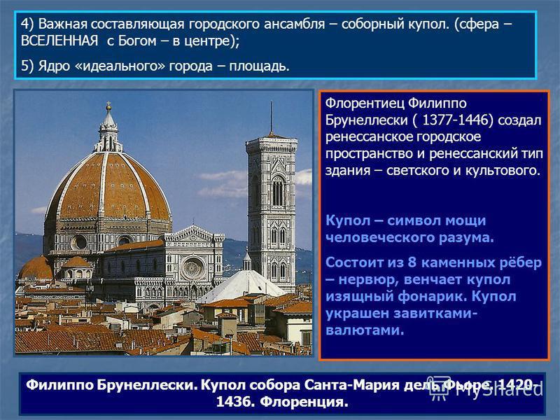 4) Важная составляющая городского ансамбля – соборный купол. (сфера – ВСЕЛЕННАЯ с Богом – в центре); 5) Ядро «идеального» города – площадь. Флорентиец Филиппо Брунеллески ( 1377-1446) создал ренессанское городское пространство и ренессанский тип здан