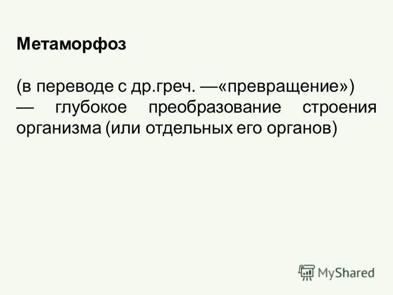 Метаморфоз (в переводе с др.греч. «превращение») глубокое преобразование строения организма (или отдельных его органов)