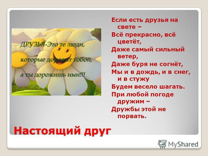 Настоящий друг Если есть друзья на свете – Всё прекрасно, всё цветёт, Даже самый сильный ветер, Даже буря не согнёт, Мы и в дождь, и в снег, и в стужу Будем весело шагать. При любой погоде дружим – Дружбы этой не порвать.