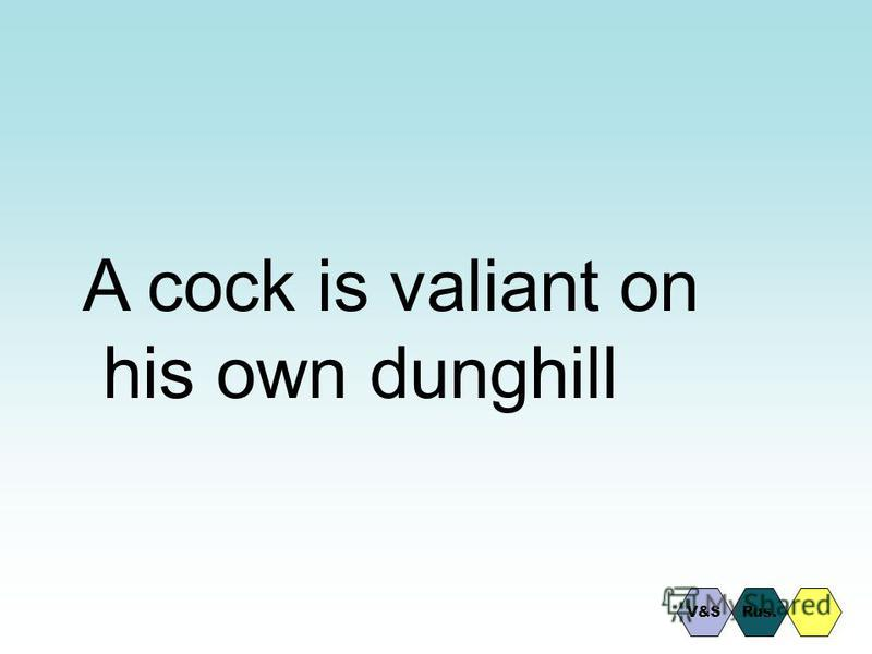 A cock is valiant on his own dunghill V&SRus.