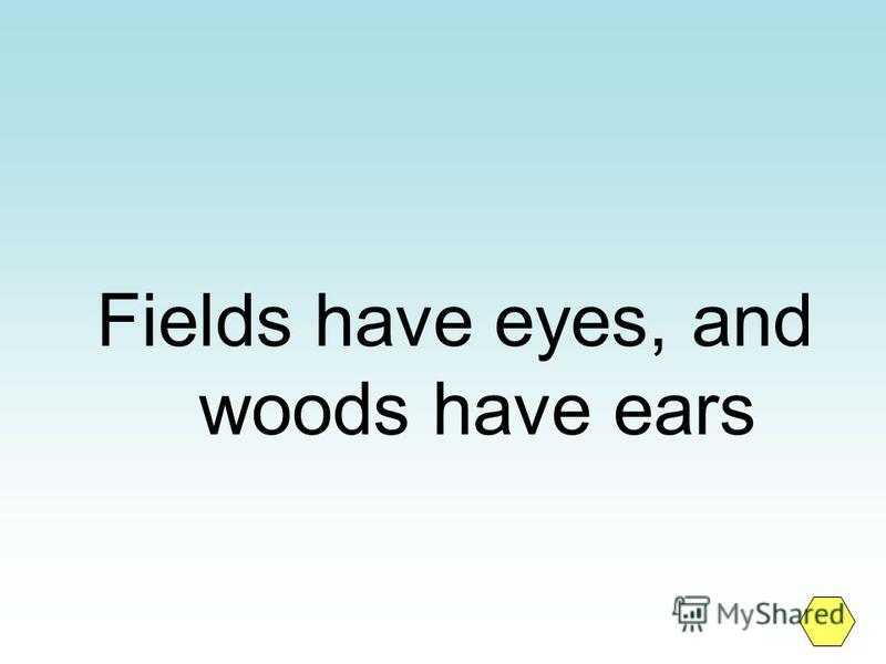 Fields have eyes, and woods have ears