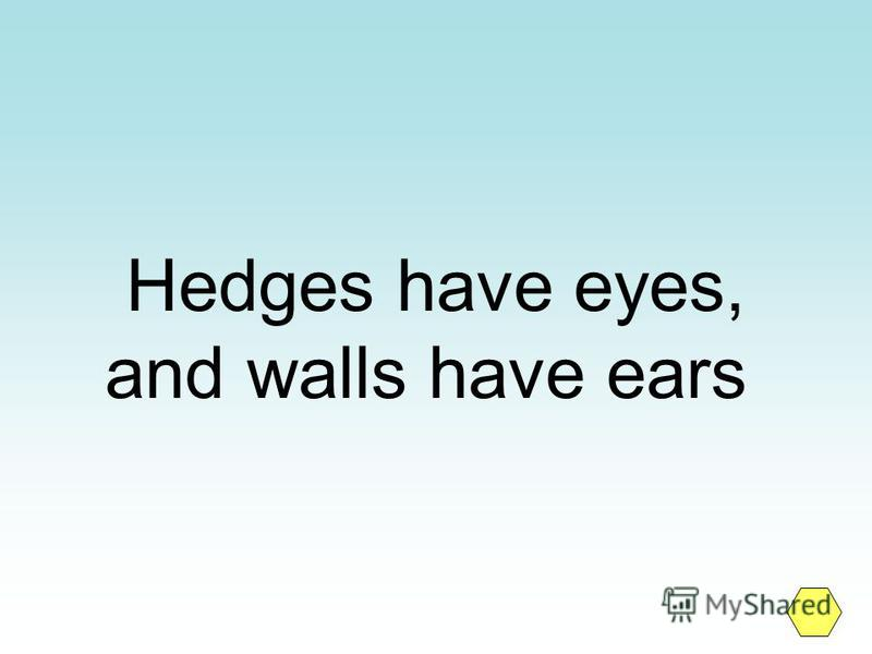 Hedges have eyes, and walls have ears