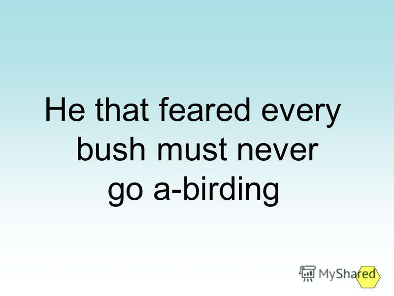 He that feared every bush must never go a-birding