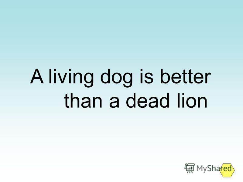 A living dog is better than a dead lion