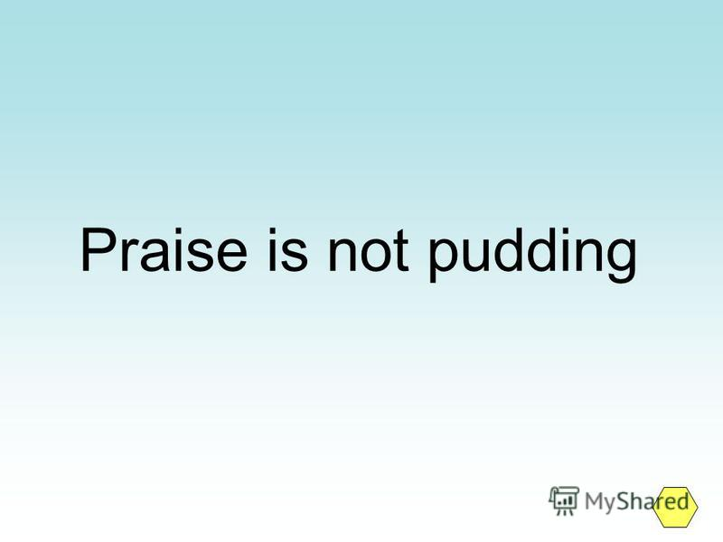 Praise is not pudding