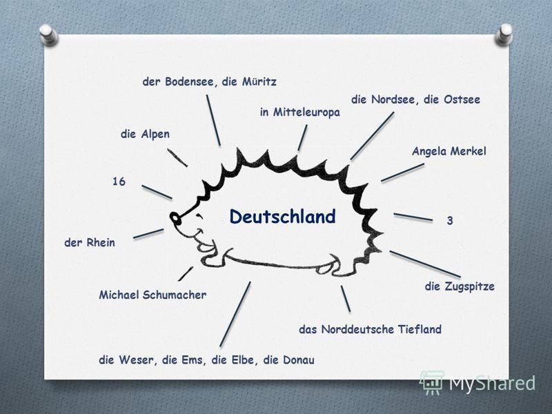 der Bodensee, die M ü ritz in Mitteleuropa die Alpen die Zugspitze das Norddeutsche Tiefland der Rhein Angela Merkel die Nordsee, die Ostsee die Weser, die Ems, die Elbe, die Donau 16 Michael Schumacher 3 Deutschland