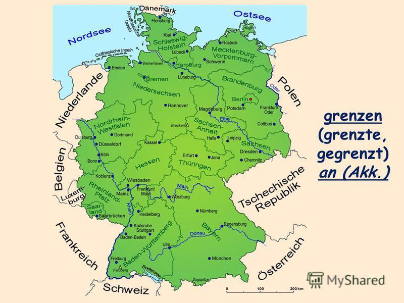 grenzen (grenzte, gegrenzt) an (Akk.)