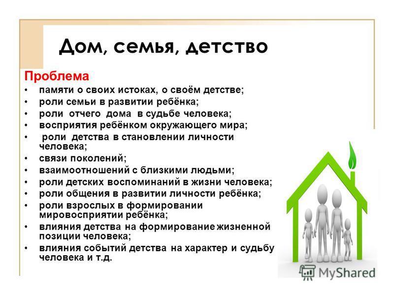 Дом, семья, детство Проблема памяти о своих истоках, о своём детстве; роли семьи в развитии ребёнка; роли отчего дома в судьбе человека; восприятия ребёнком окружающего мира; роли детства в становлении личности человека; связи поколений; взаимоотноше