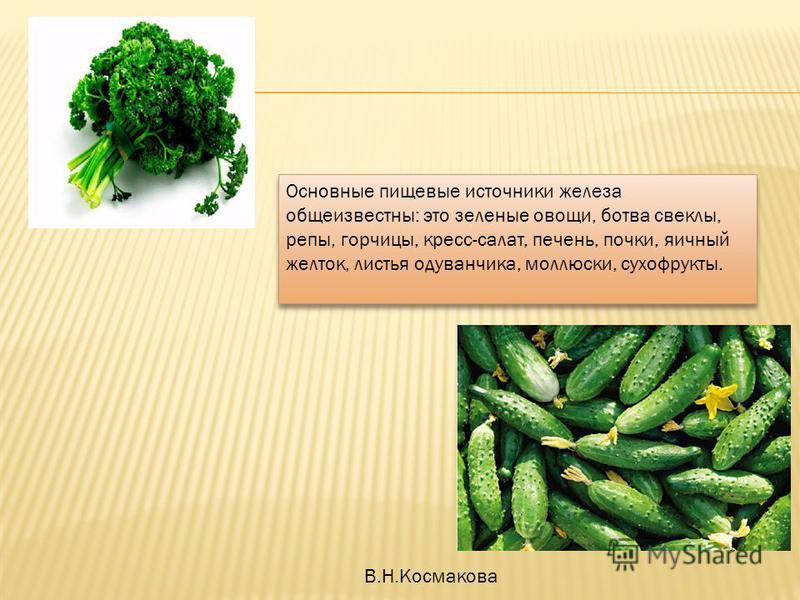 Основные пищевые источники железа общеизвестны: это зеленые овощи, ботва свеклы, репы, горчицы, кресс-салат, печень, почки, яичный желток, листья одуванчика, моллюски, сухофрукты. Основные пищевые источники железа общеизвестны: это зеленые овощи, бот