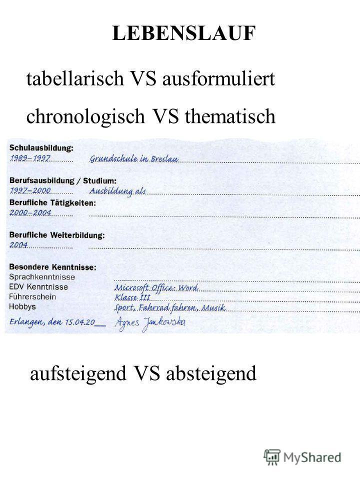 Tabellarischer Lebenslauf Mit Zwei Spalten Hamburgde Tabellarischer