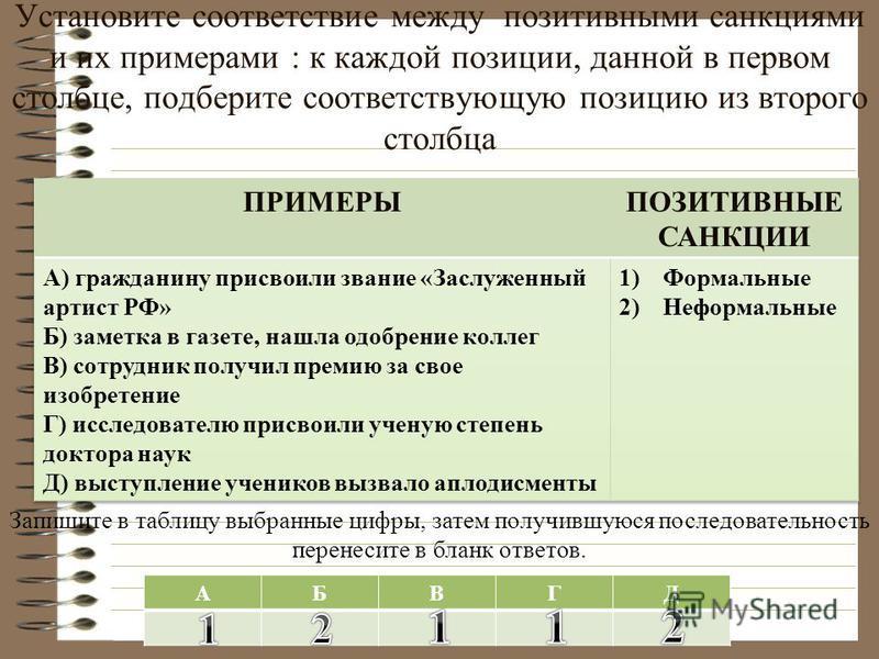 Установите соответствие между позитивными санкциями и их примерами : к каждой позиции, данной в первом столбце, подберите соответствующую позицию из второго столбца Запишите в таблицу выбранные цифры, затем получившуюся последовательность перенесите