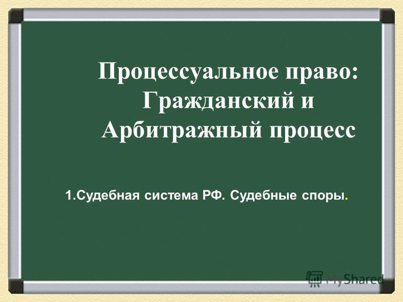 Процессуальное право: Гражданский и Арбитражный процесс 1. Судебная система РФ. Судебные споры.