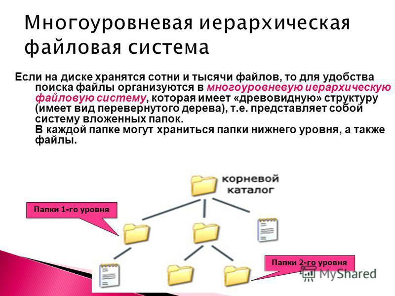 Если на диске хранятся сотни и тысячи файлов, то для удобства поиска файлы организуются в многоуровневую иерархическую файловую систему, которая имеет «древовидную» структуру (имеет вид перевернутого дерева), т.е. представляет собой систему вложенных