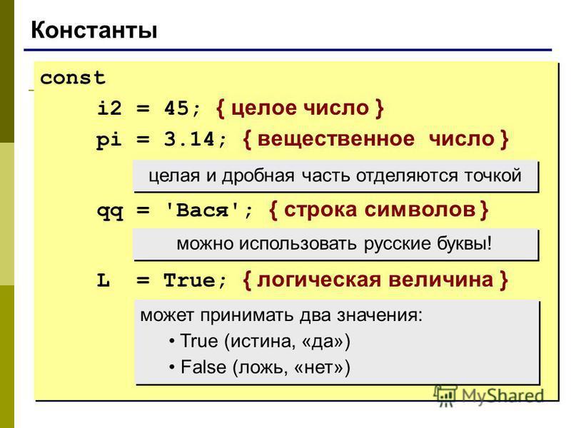Константы const i2 = 45; { целое число } pi = 3.14; { вещественное число } qq = 'Вася'; { строка символов } L = True; { логическая величина } const i2 = 45; { целое число } pi = 3.14; { вещественное число } qq = 'Вася'; { строка символов } L = True;