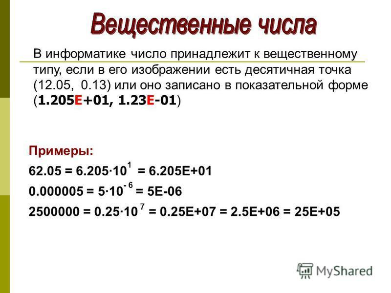 В информатике число принадлежит к вещественному типу, если в его изображении есть десятичная точка (12.05, 0.13) или оно записано в показательной форме ( 1.205Е+01, 1.23Е-01 ) Примеры: 62.05 = 6.205·10 1 = 6.205Е+01 0.000005 = 5·10 - 6 = 5Е-06 250000
